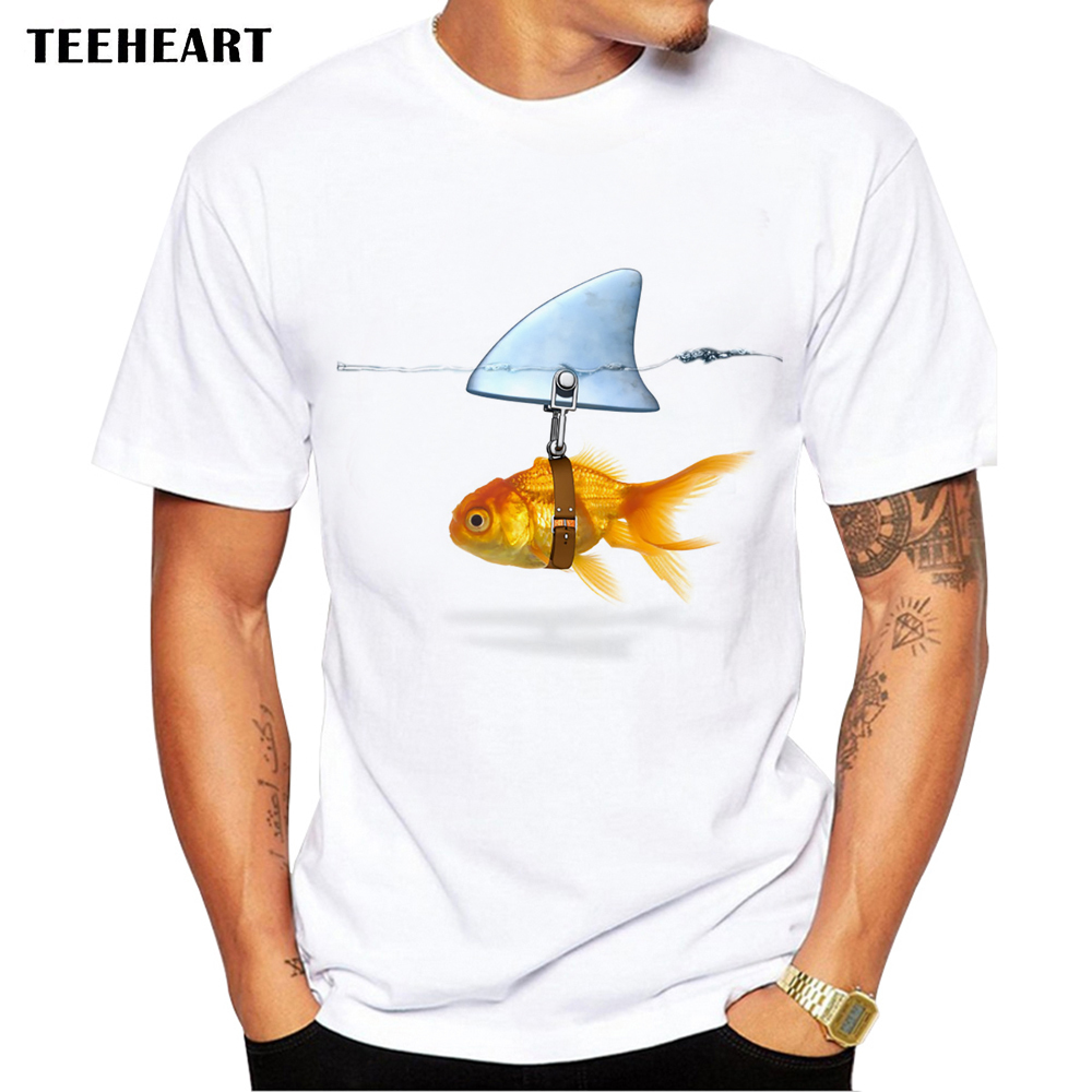 2017 Nuevo Goldfish y marca Shark pescado fresco impreso hombres camiseta ocasional masculina Retro Hipster Tops camiseta Pb131