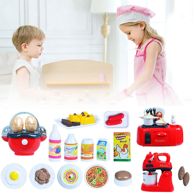 Kids Kitchen Toy Set Hose Play Roleplay Pretend Coffee Machine Vacuum Cleaner Educational