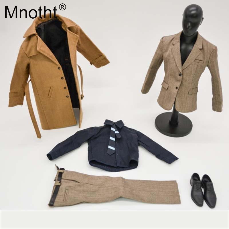 Mnotht 1/6 Scale Super Man Suit Clothes Set windbreaker Coat Pants Shirt Shoes Set Model For 12in Action Figure Toys m3 mnotht toys 1 6 man action figure head
