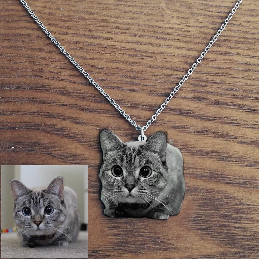 Kustom PET Foto Kalung Stainless Steel Kustom Terukir Kalung untuk Pria Wanita Hadiah Papan Nama Liontin Kalung
