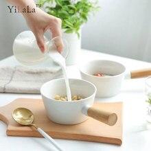 Yilala Ceramic Bowl Porcelain Tableware with Wooden Handle 450ml Dinnerware