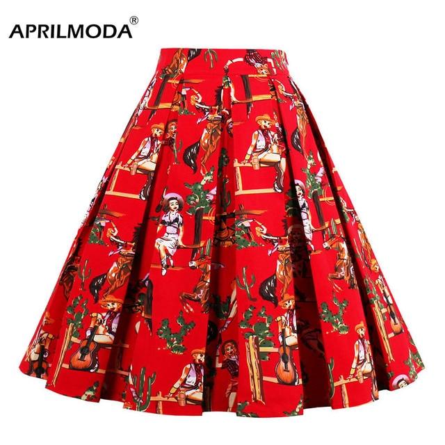 7ff4f7603 € 27.68 |Mujeres Falda Midi 2018 pista Vintage Rockabilly faldas para mujer  Sexy Pinup 50 s 60 S de algodón clásico patrón Floral faldas verano ...
