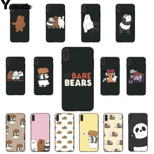 Yinuoda we bare bears miniso Soft Rubber black Phone Case for iPhone 6S 6plus 7 7plus 8 8Plus X Xs MAX 5 5S XR