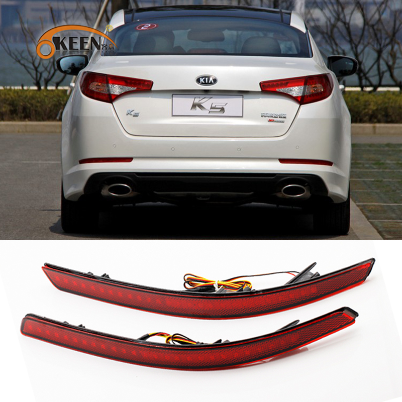 OKEEN car styling Tail Fog Lamp fit Kia K5 2011-2013 Tail trunk Light LED Rear Bumper Reflector Lights Warning lamp 2pcs red комплект накладок переднего и заднего бамперов oem tuning cnt17 12lxs 003 004 для lexus rx 2015 по н в
