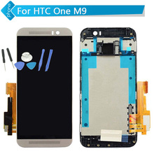 Para htc one m9 pantalla lcd táctil digitalizador asamblea con marco de oro de plata negro + herramientas