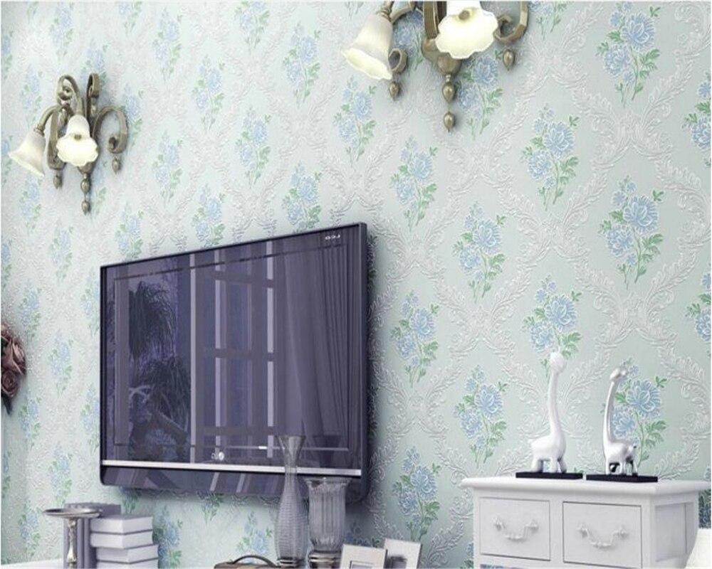 Beibehang élégant papel de parede fond chaud mur classique style pastoral non-tissé chambre pleine de papier peint stéréo behang