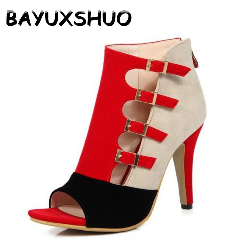 BAYUXSHUO Women Sandals Sexy Open Toe Buckle Strap High Heels Fashion Zip Stiletto Pump Plus Size Ankle Boots Rome Shoes Woman ephemeral ladies zip sandals with heels buckle strap open toe summer casual shoes woman spongy insole plus size 11 12 white pink