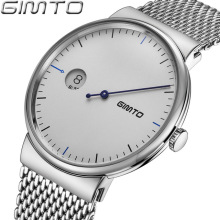 цена GIMTO Luxury Brand Silver Quartz Watch Men Business Casual Stainless Steel Mesh Band Quartz-Watch Fashion Slim Clock Male онлайн в 2017 году