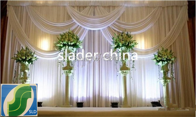 Wedding Backdrop Ice Silk Fabric Curtain For With Swag Wed Drape Free