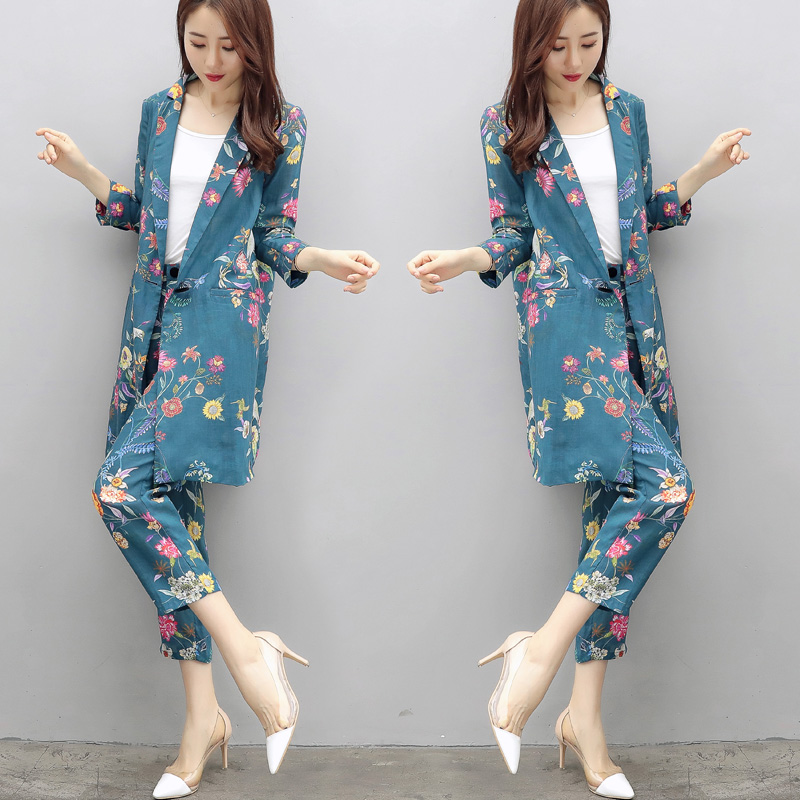 High Quality Women's Suit European Style Flower Pattern Fashion Casual Suit Long-sleeved Pajamas Jacket + Pants Two/piece Suit