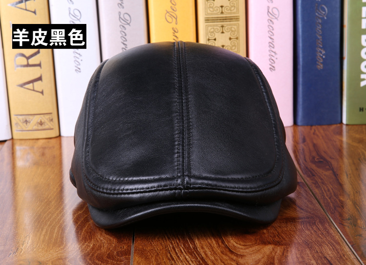 mens winter sheepskin leather baseball caps (5)