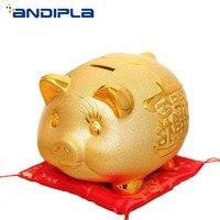 Creative Ceramic Golden Pig Piggy Bank Lucky Cute Pig Cartoon Figurine Money Box Child Cash Coin Saving Box Feng Shui Home Decor