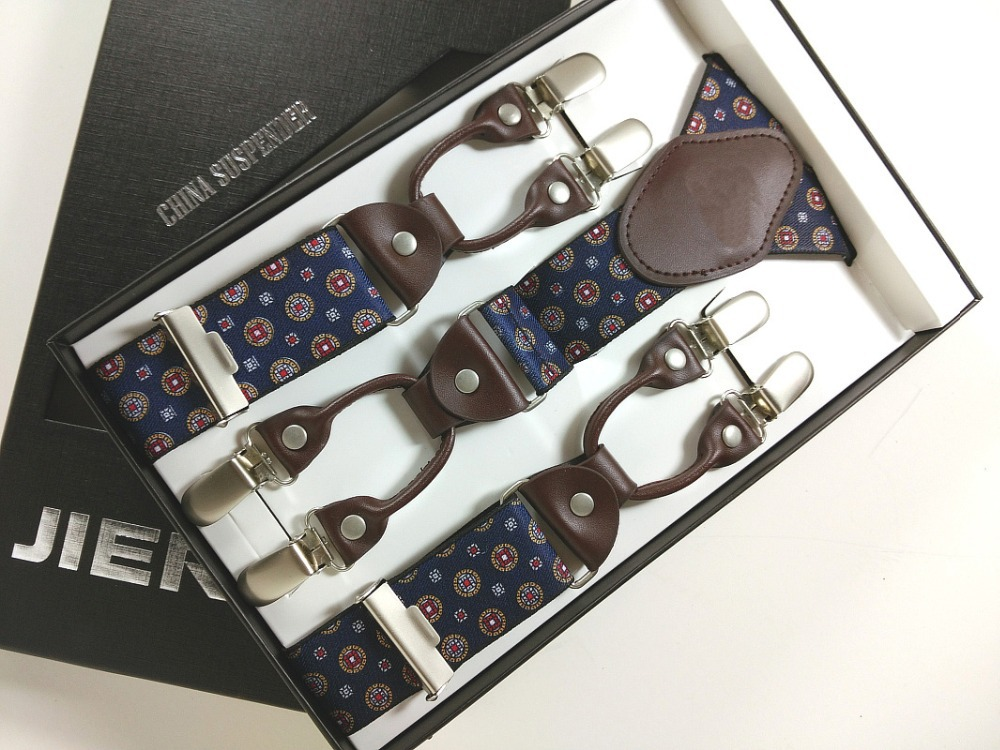 Hombre Tirantes Cuero genuino Tejido jacquard Tirantes para hombre 6 clips tirantes elásticos Tirantes de calidad para adultos