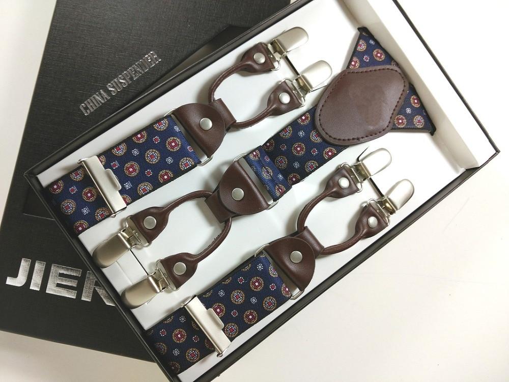 Man Suspenders Genuine Leather Jacquard Weave Men's Braces 6 Clips Elastic Suspenders Adult Quality Braces