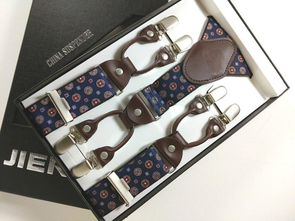Man Suspenders Genuine leather Jacquard weave Mens braces 6 clips elastic suspenders adult quality braces