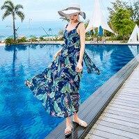 GEJIAN лето для женщин Boho платье модные, пикантные печати безрукавка с низким вырезом на спине пляжное Повседневное платье Макси Отпуск Платья