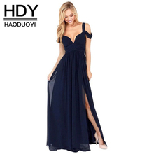 font b HDY b font Haoduoyi 2018 Fashion Party Floor Length Solid Dinner Sexy