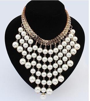 69a9322cb79c Hesíodo Ruili joyería de moda collar perlas simuladas gran exageración  multicapa borla collar de perlas
