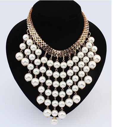 Hesiod Ruili Fashion Jewelry Simulated Pearl Necklace Big Exaggeration Multilayer Tassel Pearl Necklace