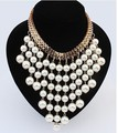 Min. order is $9(mix order)  Ruili fashion jewelry Simulated pearl necklace big exaggeration multilayer tassel pearl necklace