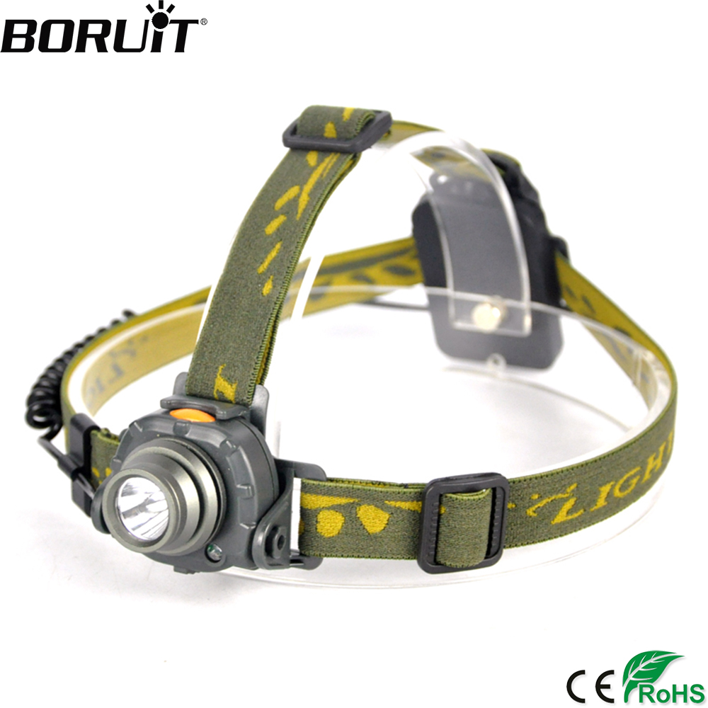 BORUIT 2000LM XPE LED Mini Headlight IR Sensor 3 Mode Headlamp Camping Berburu Tahan Air Kepala Torch AAA Baterai Senter