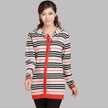 Women Spring Cashmere Cardigan Sweater stripe zipper Single breasted ashmere sweaters Knitted Hooded casaquinho -DL9911