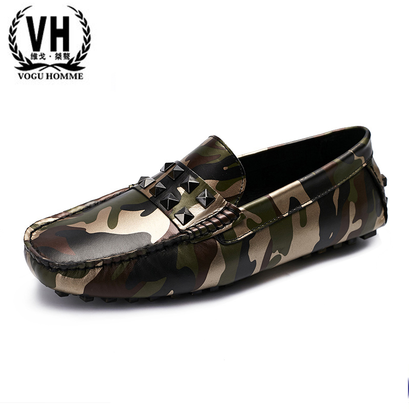 The young man set foot lazy leather shoes  Doug camouflage shoes driving shoes shoes