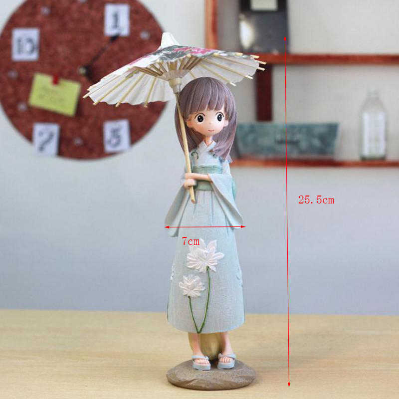 1pcs Creative H-25.5cm Japanese Kimono Umbrella Girl Resin Figurines Ornaments Gifts Toys Girl Gift Students Bedroom Decoration