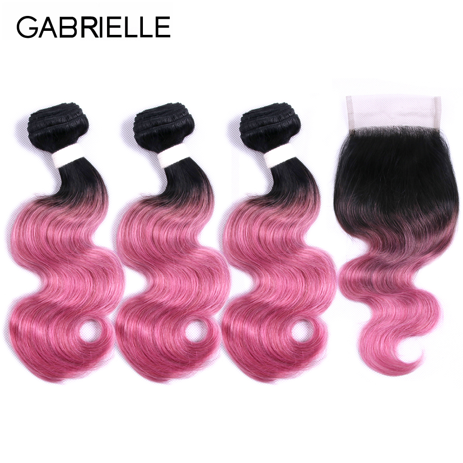 Gabrielle Brazilian Body Wave Ombre Hair Bundles with Closure Free Part Ot Rose Pink Non Remy Human Hair Extensions
