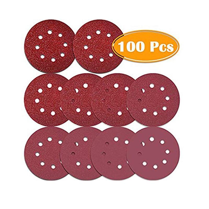 100Pcs 5 Inch 8 Holes Sanding Discs 40/ 80/100/ 120/180/ 240/320/ 400/800Grit Hook And Loop Sandpaper For Random Orbital Sander