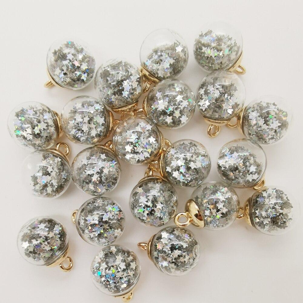 NEW 10PCS 16MM Mini Glass Bottles with Stars Pendant Ornaments Jewelry Making