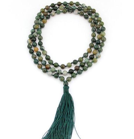 6MM Indian Agate Hand Knotted Mala Tibet Buddhist Prayer Beads 108 Beaded Mala