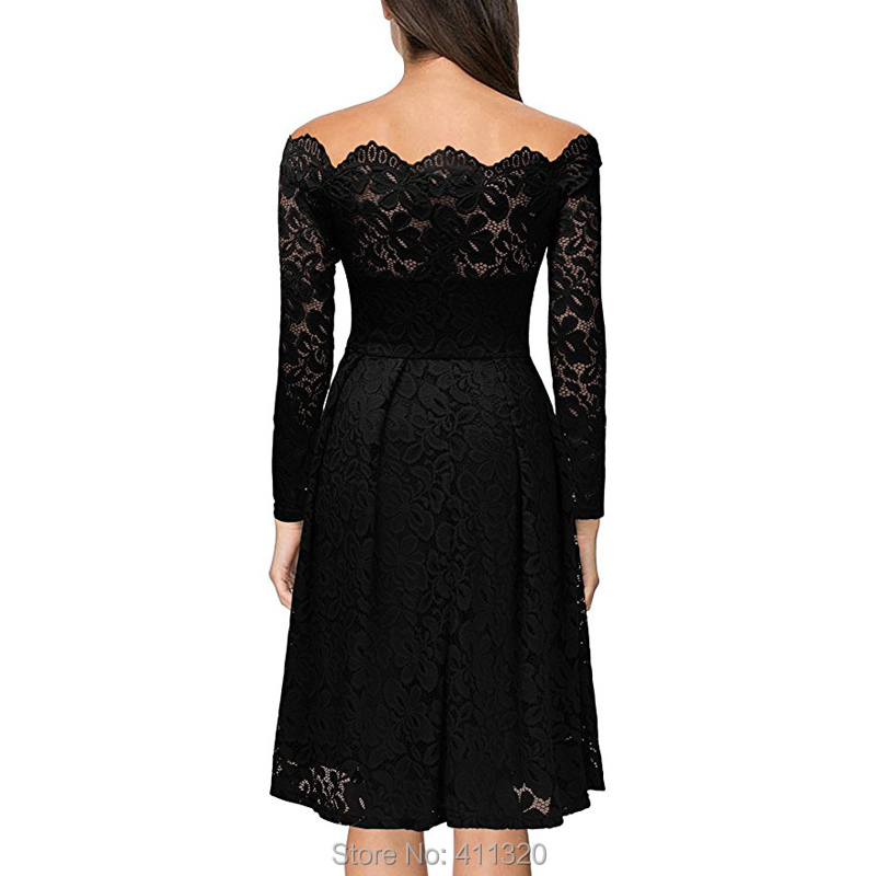 Robe Femme Sexy Vintage Floral Lace Dress Women Elegant Long Sleeve 50s 60s Retro Style Rockabilly Swing Wedding Party Dress (8)