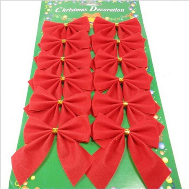 12pcs/pack Christmas Tree Decoration 5.5cm Small Red Bows Christmas Tree  Gold Bow Christmas