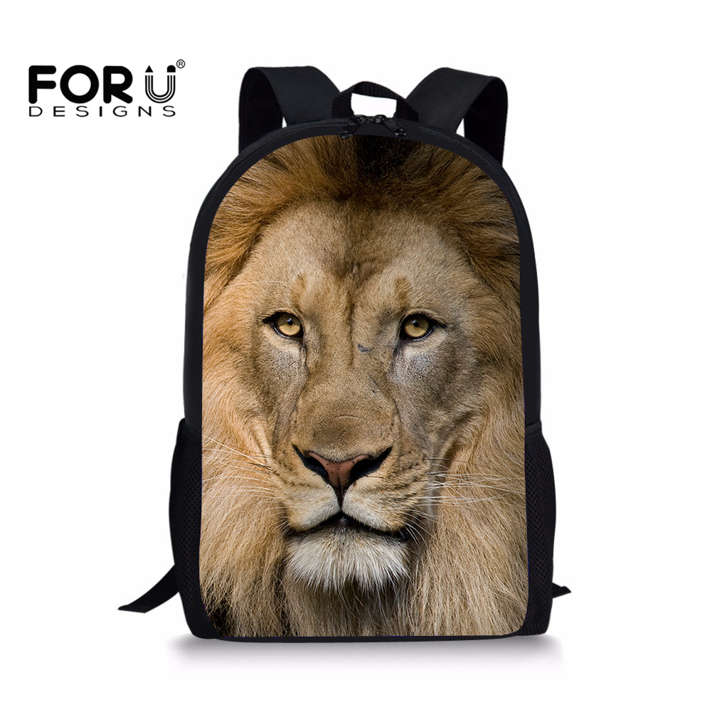 FORUDESIGNS Chidren School Bags Lion Animal Print Primary School Backpack Orthopedic Satchel Bookbag Mochila Infantil Sac Enfant