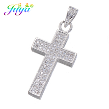 Juya DIY Religious Pendants Findings Supplies Micro Pave Zircon Cross Charms For Handmade Jesus Christian Jewelry Making