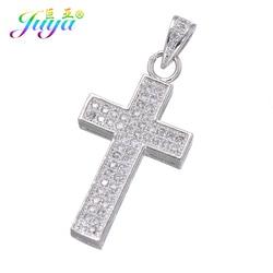 Juya DIY Religious Pendants Findings Supplies Micro Pave Zircon Cross Charms For Handmade Jesus Christian Jewelry Making