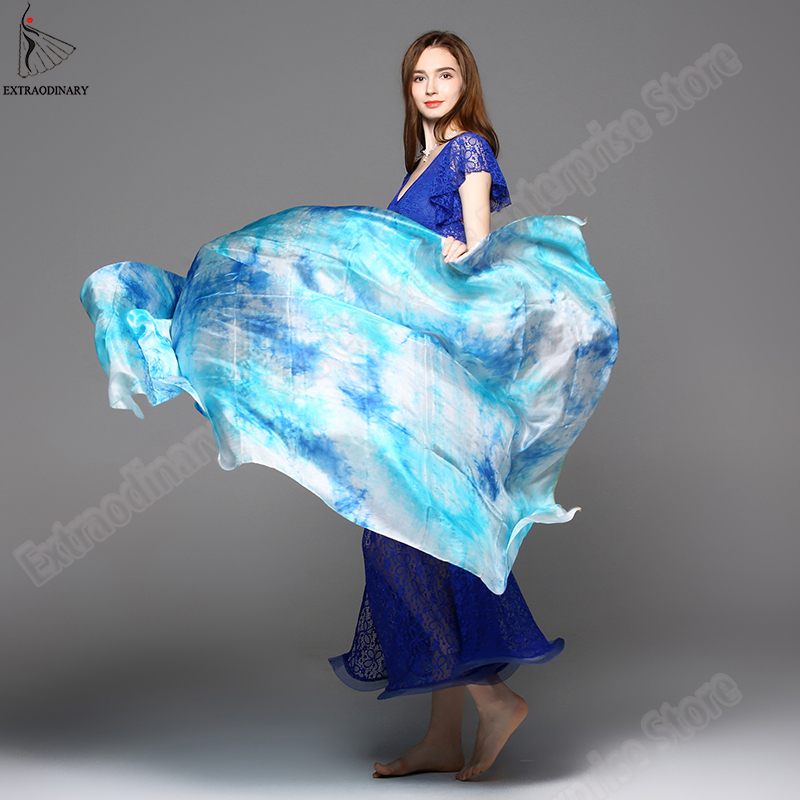 Image 3 - New 100% Veils Light Silk Belly Dance Hand Thrown Scarf Shawl Veil Silk 200cm 250cm 270cm Kids Adults Stage Performance 13 ColorBelly Dancing   -