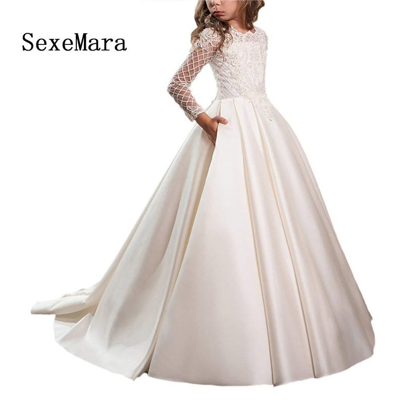 Long Sleeve Flower Girls Dress for Wedding Satin White Ivory Girls First Communion Dress Pageant Gown Custom Made Size