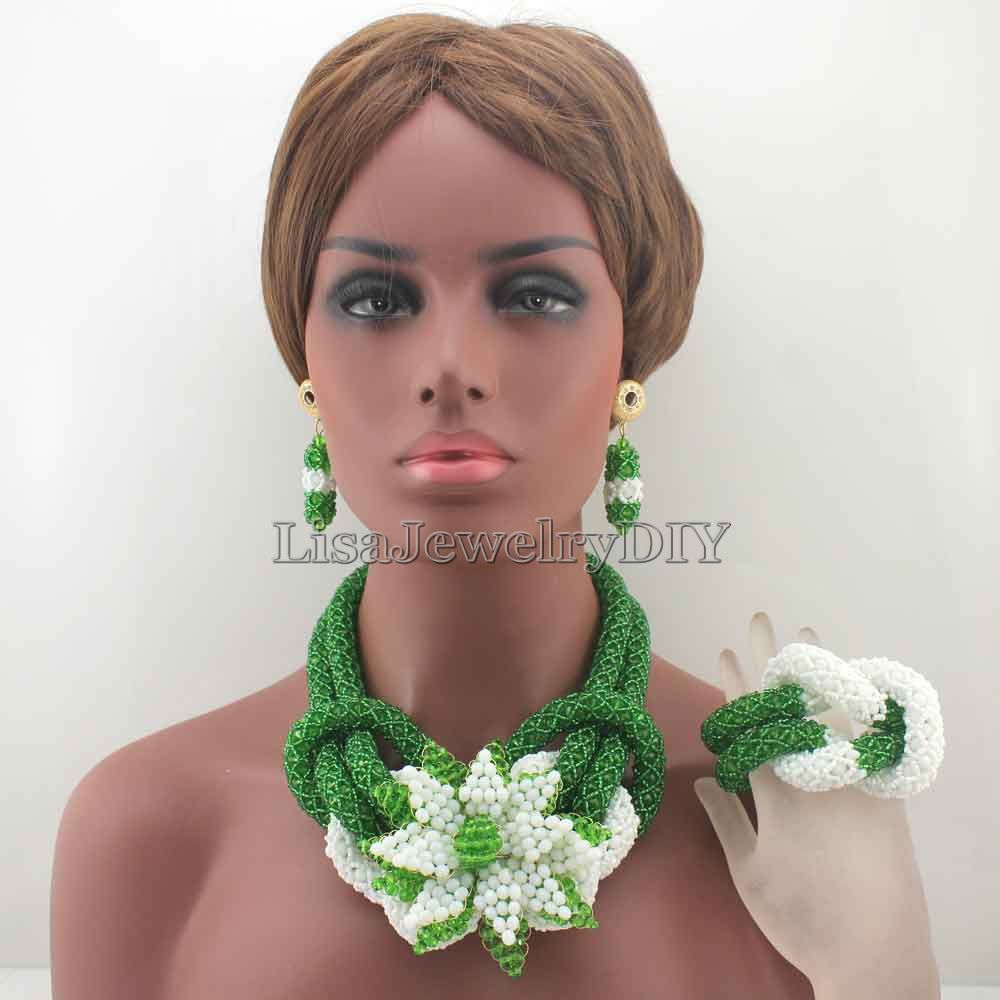 Charms African GreenWhite Beads Jewelry Sets for Women Mix Flower Crystal Floral Statement Necklace Set Free Shpping HD8046 hyperbolic layered beads floral necklace for women