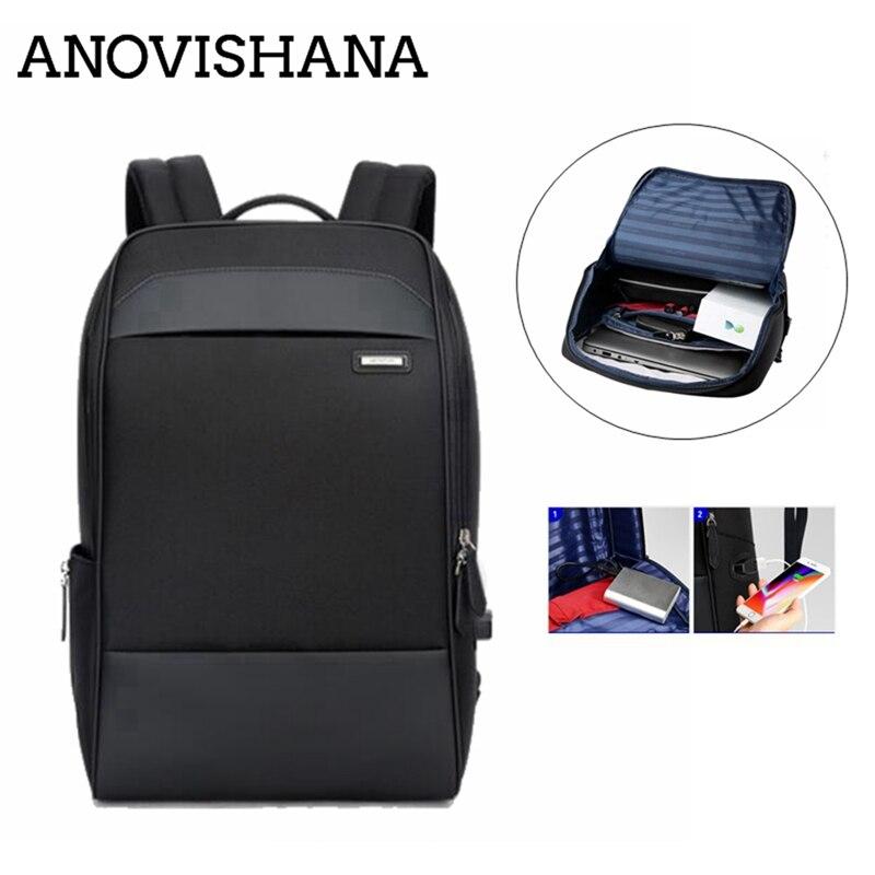 ANOVISHANA Slim sac à dos pour ordinateur portable hommes 15.6 pouces bureau travail hommes voyage affaires sac unisexe noir ultraléger sac à dos mince