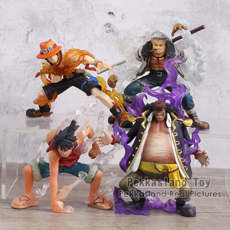 Anime One Piece Teach/ Luffy/ Ace/ Smoker Devil Fruit Ability Ver. PVC Figures Collection Model Toys for Kids Gift 4pcs/set