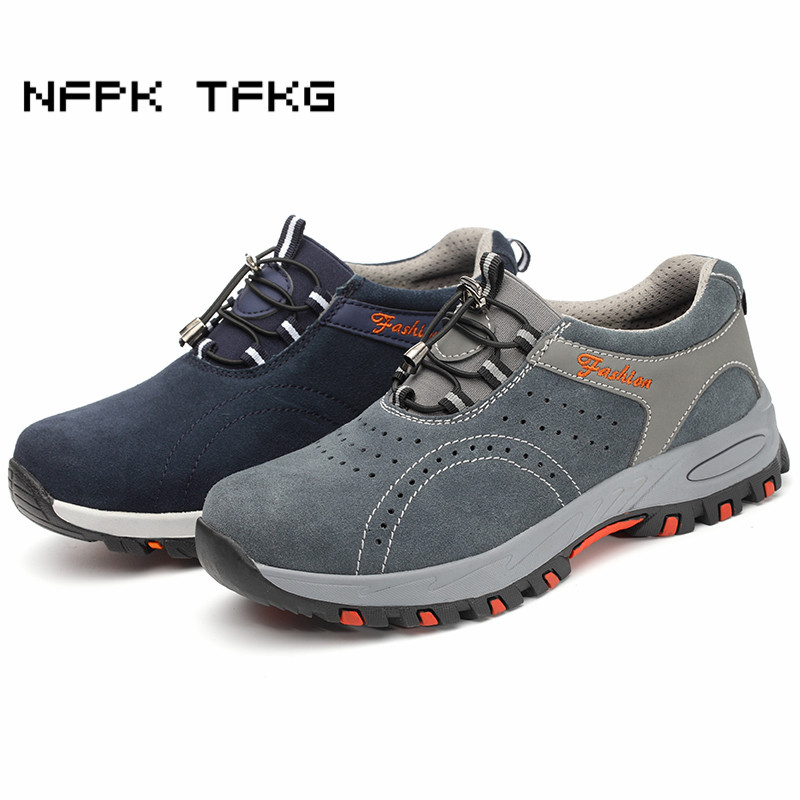 men large size comfort steel toe caps work safety shoes construction site worker sneakers anti-puncture security boots protect все цены