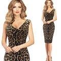 2016 лето женщины мода платье леопарда тонкий был тонкий пакет бедра платье без рукавов v-образным вырезом миниая сексуальное платье vestido курто BD673