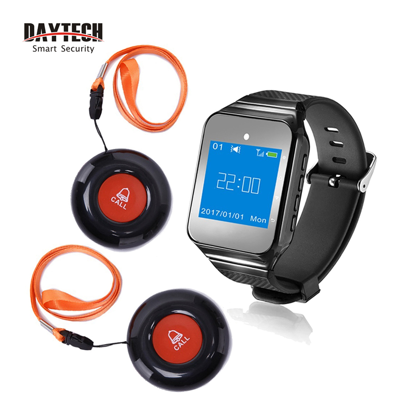 DAYTECH Wireless Restaurant Coaster Pager Waiter Paging Queuing Calling System Service Call Button Watch Receiver Transmitter wireless service calling system paging system for hospital welfare center 1 table button and 1 pc of wrist watch receiver