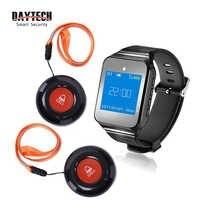 Transmisor receptor de reloj con botón de llamada de servicio de sistema de llamada de mimbre inalámbrico de restaurante DAYTECH