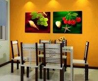 Холст картины Unframed Wall Art 2 шт. холсте плакатов печатает Wall Art Холст Home Decor картина маслом фрукты зеленый виноград