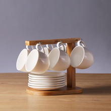 Moderne Sieben teilig Keramik Kaffee Tee Gesetzt Einfaches Design mit Sechs Tassen, sechs Saucen und Einem Regal für Wohnzimmer auf Rabatt