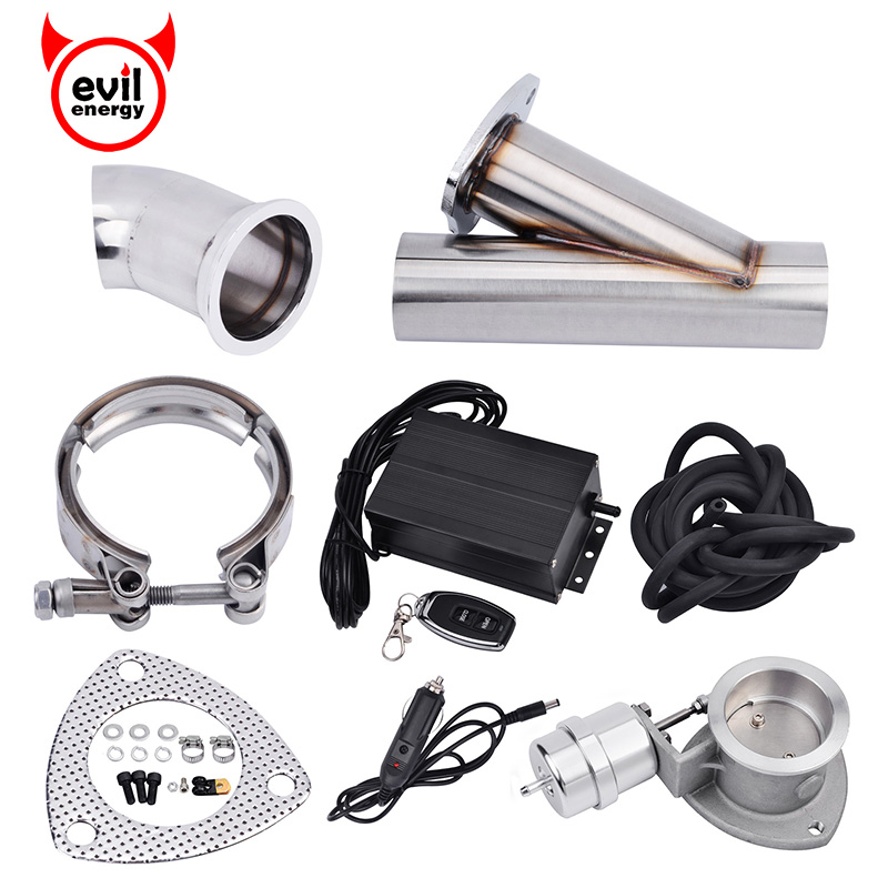 evil energy 3.0 Inch Stainless Steel Electric Boost Activated Exhaust Cutout System E Cut Vacuum Pump Valve With Remote Control