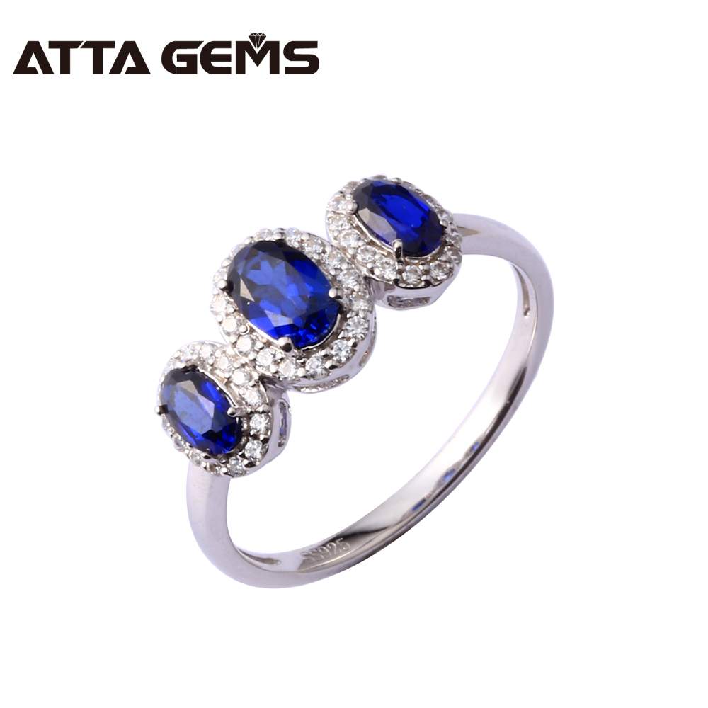 Women Fine Jewelry Blue Sapphire Sterling Silver Ring Oval 4mm*6mm Main Stone Created Sapphire Silver Ring For Women delicate alloy faux sapphire geometric ring for women